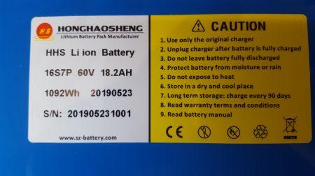 HG Li-ion akkumulátor, 60V 18,2Ah